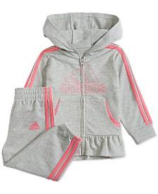 adidas Baby Girls Zip-Up Peplum Hoodie & Pants Set