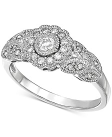 Diamond Filigree Ring (1/3 ct. t.w.) in 10k White Gold