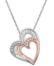 """Diamond Double Heart 18"""" Pendant Necklace (1/4 ct. t.w.) in 10k White Gold & 14k Rose Gold-Plate"""