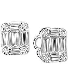 Diamond Baguette Cluster Stud Earrings (5/8 ct. t.w.) in 14k White Gold