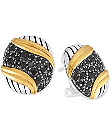 Black Spinel Pavé Stud Earrings (2-1/2 ct. t.w.) in Sterling Silver & Gold-Plated Sterling Silver