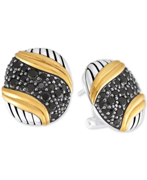 Peter Thomas Roth Black Spinel Pave Stud Earrings (2-1/2 ct. t.w.) in Sterling Silver & Gold-Plated Sterling Silver