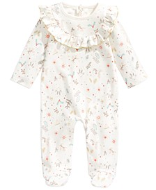 Baby Girls Cotton Reindeer Footed Coverall, Created For Macy's