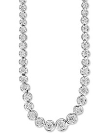 "Diamond Bezel Graduated 18"" Statement Necklace (2 ct. t.w.) in 14k White Gold"
