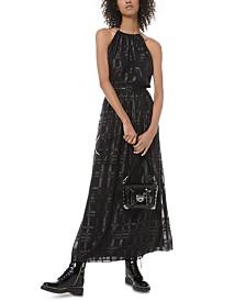 Michael Michael Kors Shine Plaid Maxi Dress