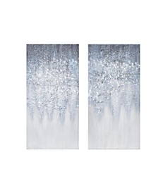 Winter Glaze Heavy Textured Canvas with Glitter Embellishment 2-Pc Set