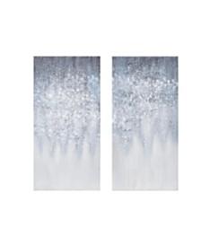 Madison Park Winter Glaze Heavy Textured Canvas with Glitter Embellishment 2-Pc Set