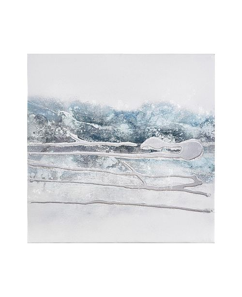 Madison Park Blue Glacier Heavy Textured Canvas with Glitter and Silver foil Embelishment