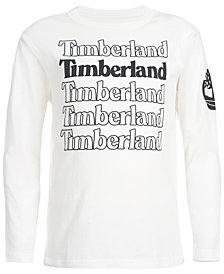 Timberland Little Boys White Stacked Logo T-Shirt