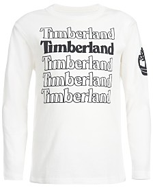 Timberland Big Boys White Stacked Logo T-Shirt