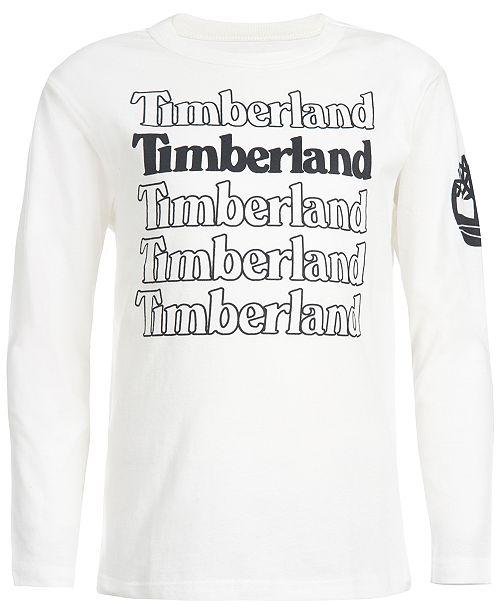 Timberland Little Boys White Stacked Logo T-Shirt