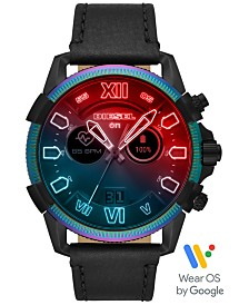 Diesel Tech Men's Full Guard 2.5 Black Leather Strap Touchscreen Smart Watch 48mm, Powered by Wear OS by Google™