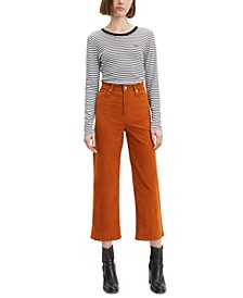 Mile High Cropped Wide-Leg Corduroy Pants