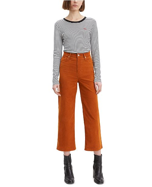 Levi's Mile High Cropped Wide-Leg Corduroy Pants