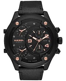 Men's Chronograph Boltdown Black Leather Strap Watch 56mm