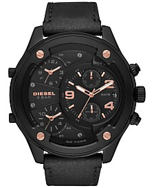 Diesel Men's Chronograph Boltdown Black Leather Strap Watch 56mm