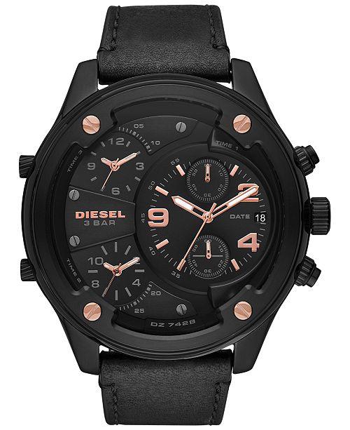 Diesel Men's Chronograph Boltdown Black Leather Strap Watch 56mm