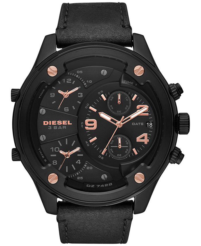 Diesel - Men's Chronograph Boltdown Black Leather Strap Watch 56mm