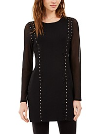 INC Studded Illusion-Sleeve Sweater, Created for Macy's