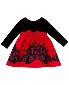 Baby Girls Velvet-Bodice Flocked-Skirt Dress