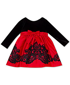 Rare Editions Baby Girls Velvet-Bodice Flocked-Skirt Dress