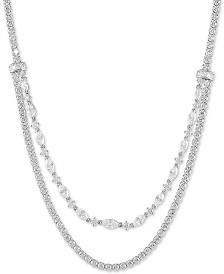 "Swarovski Zirconia 18"" Layered Necklace in Sterling Silver"