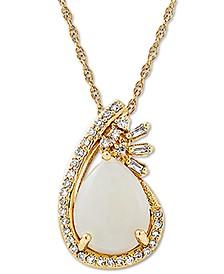 """Opal (1-1/10 ct. t.w.) & Diamond (1/10 ct. t.w.) Teardrop 18"""" Pendant Necklace in 10k Gold"""