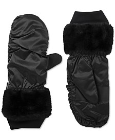 Isotoner SleekHeat Mittens With Faux-Fur Cuffs