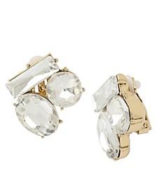 Stone Cluster Clip-On Earrings