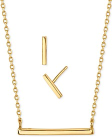 2-Pc. Set Mini Polished Pendant Necklace & Stud Earrings in Gold-Tone Fine Plated Silver, Created for Macy's