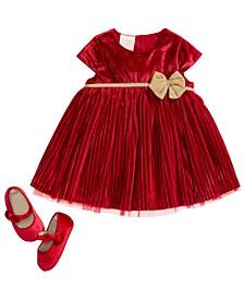 Baby Girls Pleated Dress & Velvet Bow Shoes, Created For Macy's
