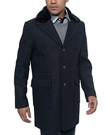 Men's Single Breasted Walking Coat with Detachable Faux Mink Collar
