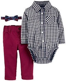 Baby Boys 3-Pc. Cotton Bowtie, Checkered Bodysuit & Pants Set
