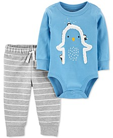 Baby Boys 2-Pc. Fleece Penguin Bodysuit & Striped Pants Set