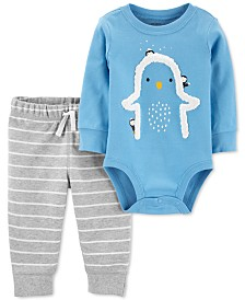 Carter's Baby Boys 2-Pc. Fleece Penguin Bodysuit & Striped Pants Set