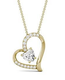 Moissanite Heart Pendant 1 ct. t.w. Diamond Equivalent in 14k White, Yellow, or Rose Gold