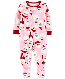 Baby Girls Footed Fleece Santa Pajamas