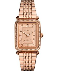 Fossil Women's Lyric Rose Gold-Tone Stainless Steel Bracelet Watch 23x28mm