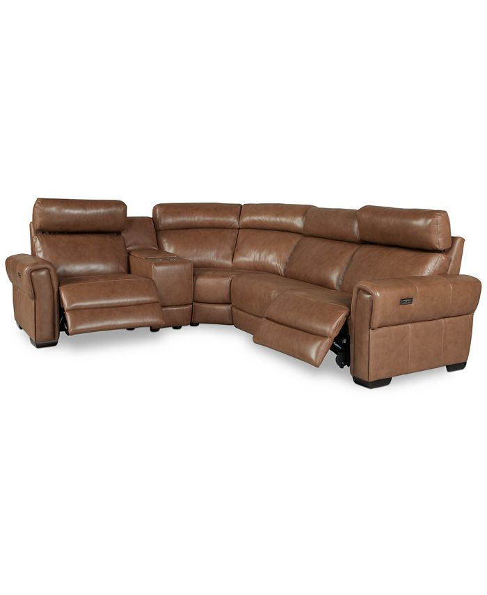 Furniture - Josephia 5-Pc. Leather Sectional with 2 Power Recliners and Console