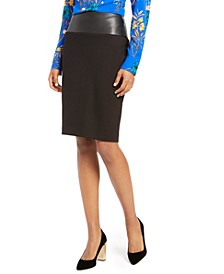Faux-Leather-Trimmed Pencil Skirt