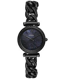 Women's Carlie Mini Black Stainless Steel Chain Bracelet Watch 28mm