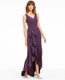 Adrianna Papell Crepe Cascade Gown