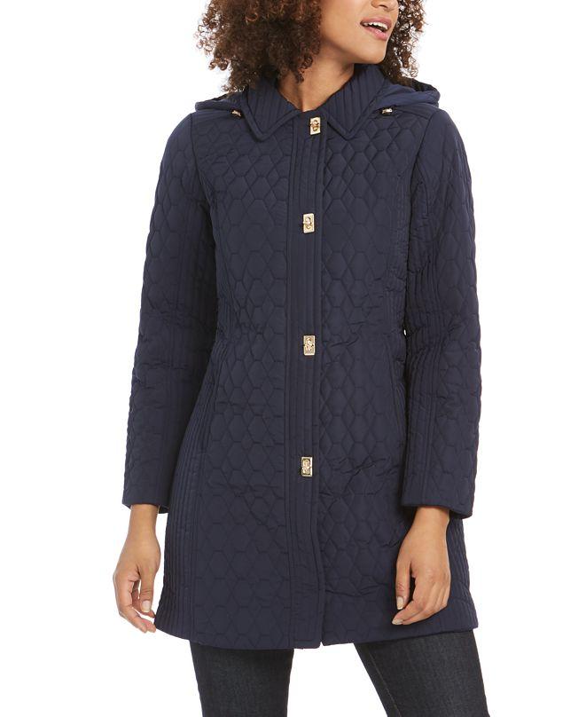Jones New York Turn Key Hooded Quilted Raincoat