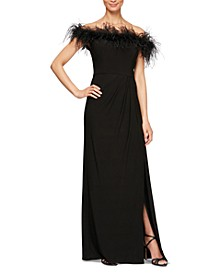Faux-Feather Off-The-Shoulder Gown