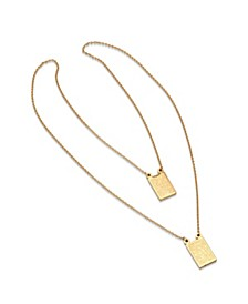 Men's 18k gold Plated Stainless Steel Religious Escapulario Style Reversable Necklace