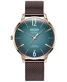 Women's Slim Burgundy Stainless Steel Mesh Bracelet Watch 36mm