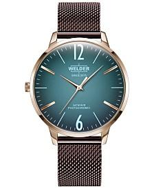 WELDER Women's Slim Burgundy Stainless Steel Mesh Bracelet Watch 36mm