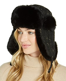INC Woven Shine Faux Fur Trapper, Created For Macy's