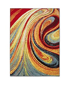 "Global Rug Design Burst BUR01 Red 6'6"" x 9'2"" Area Rug"