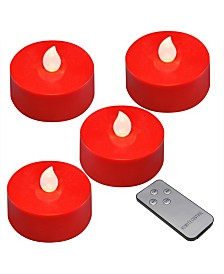 Lumabase Battery Operated Extra Large Tea Light Candles with Remote Control, Set of 4